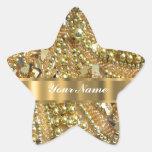 Oro elegante bling pegatina en forma de estrella