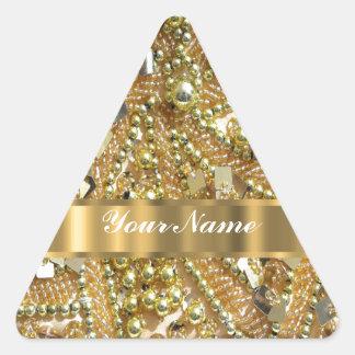 Oro elegante bling pegatina triangular