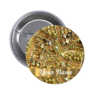 Oro elegante bling pin redondo de 2 pulgadas