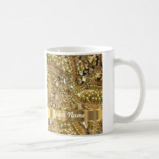 Oro elegante bling taza clásica