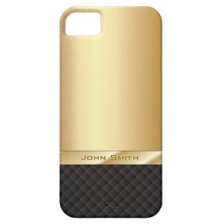 Oro elegante con el caso conocido de encargo del funda para iPhone 5 barely there