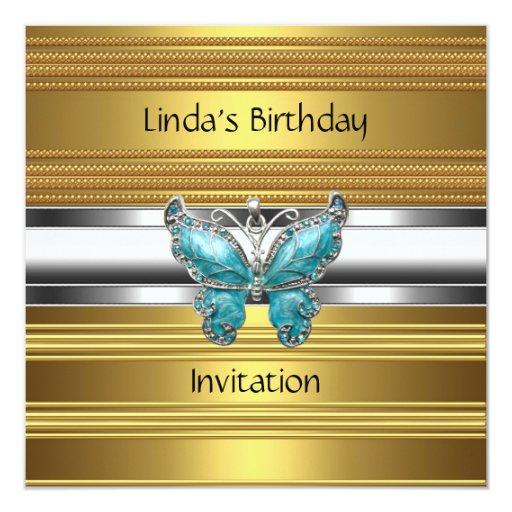 Oro elegante de la invitación de la mariposa