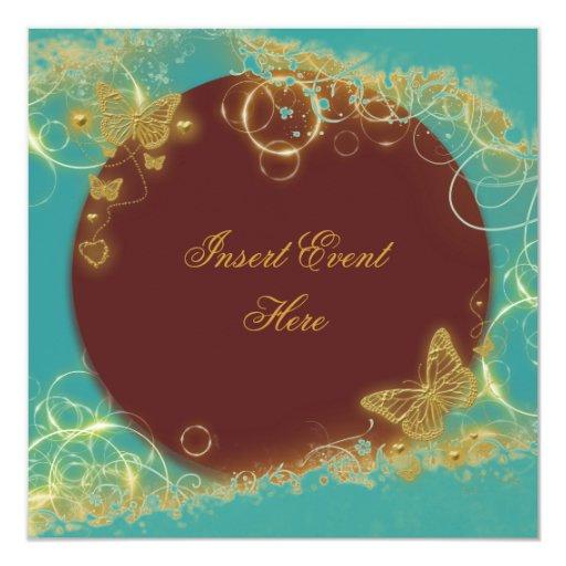 Oro elegante de la mariposa del aniversario de invitación 13,3 cm x 13,3cm