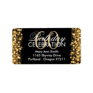 Oro elegante de las chispas de la fiesta de etiquetas de dirección