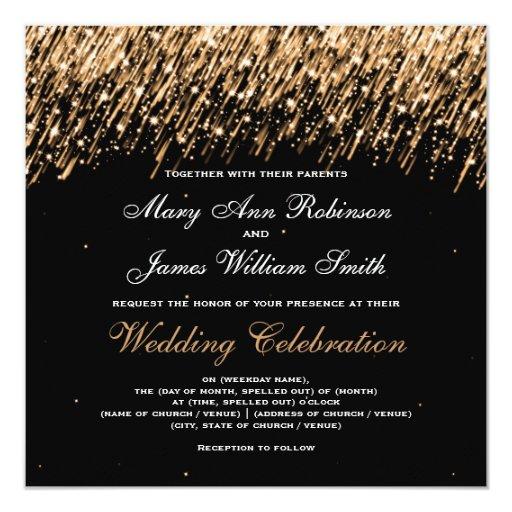 """Oro elegante de las estrellas el caer del boda invitación 5.25"""" x 5.25"""""""