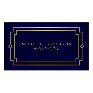 Oro elegante del art déco profesional del vintage, tarjetas de visita