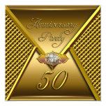 Oro elegante del boda del 50.o aniversario de oro invitación personalizada