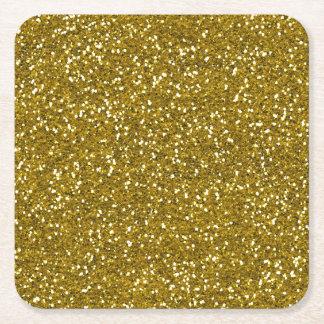 Oro elegante del brillo posavasos personalizable cuadrado