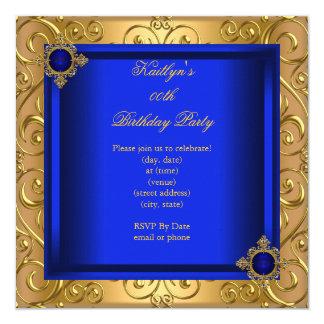 """Oro elegante del damasco del azul real de la invitación 5.25"""" x 5.25"""""""
