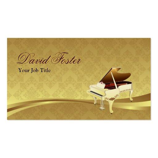 Oro elegante del damasco del instrumento musical d tarjetas de negocios