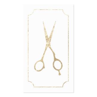 Oro elegante del estilista el falso scissors la tarjetas de visita