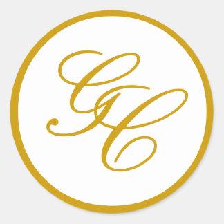 Oro elegante del monograma y pegatina blanco del