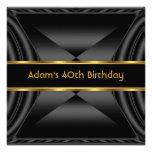 Oro elegante del negro de la fiesta de cumpleaños  invitación personalizada
