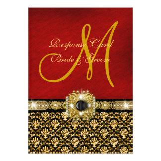 Oro elegante del rojo del negro del damasco