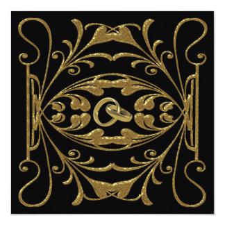 Oro elegante e invitación negra del boda invitación 13,3 cm x 13,3cm