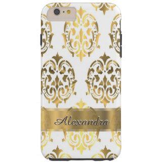 Oro elegante elegante personalizado y damasco funda de iPhone 6 plus tough