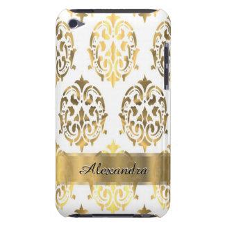 Oro elegante elegante y damasco personalizado funda para iPod de barely there