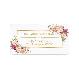 Oro elegante elegante y decoración floral hermosa etiqueta de dirección