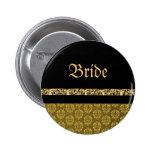 Oro elegante negro del damasco nupcial pins