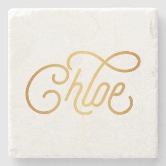Oro elegante personalizado de Chloe de la Posavasos De Piedra