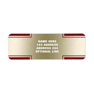 Oro elegante personalizado y efecto rojo del etiqueta de remitente