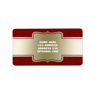 Oro elegante personalizado y efecto rojo del etiquetas de dirección