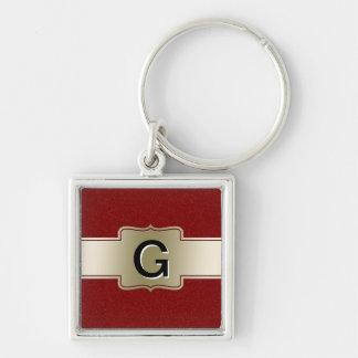 Oro elegante personalizado y efecto rojo del llavero cuadrado plateado