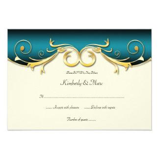 oro elegante RSVP del trullo 3.5x5 Invitacion Personal