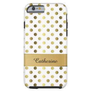 Oro elegante y caja blanca del iPhone 6 del lunar Funda De iPhone 6 Tough