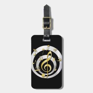 Oro elegante y Clef musical de plata Etiquetas Bolsa