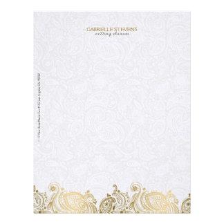 Oro elegante y cordón blanco de Paisley Plantilla De Membrete