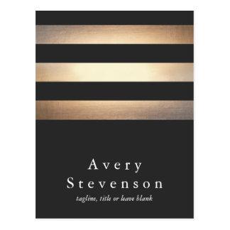 Oro elegante y diseñador rayado negro tarjetas postales