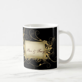 Oro elegante y diseño negro del remolino - modifiq taza básica blanca
