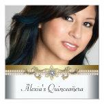 Oro elegante y foto blanca Quinceanera Invitacion Personalizada