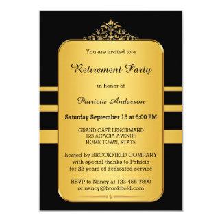 Oro elegante y invitación negra del fiesta de invitación 12,7 x 17,8 cm