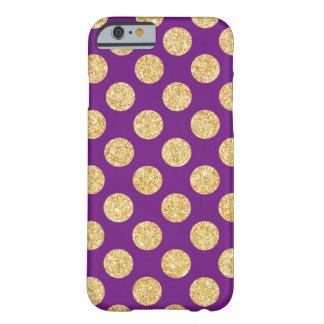 Oro elegante y modelo de lunares púrpura del funda de iPhone 6 barely there