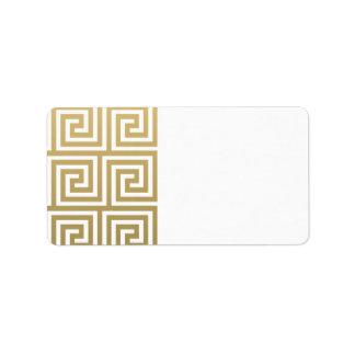 Oro elegante y modelo dominante griego blanco etiquetas de dirección