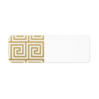 Oro elegante y modelo dominante griego blanco etiqueta de remite