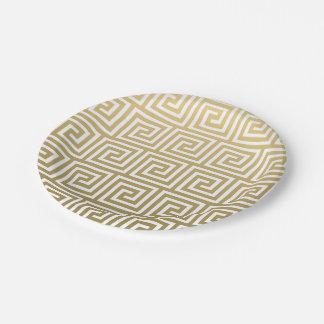 Oro elegante y modelo dominante griego blanco plato de papel de 7 pulgadas
