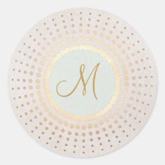 Oro elegante y monograma azul claro del oro pegatina redonda