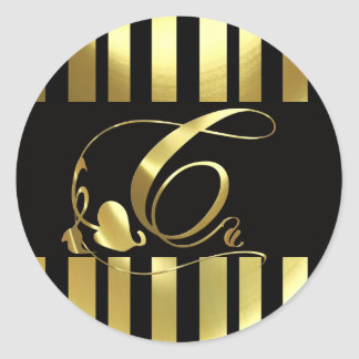 Oro elegante y negro del monograma C Pegatina Redonda