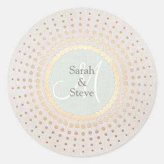 Oro elegante y nombre beige del boda redondos pegatina redonda