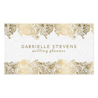 Oro elegante y planificador blanco del boda de tarjetas de visita