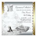 Oro elegante y Quinceanera blanco Invitacion Personalizada