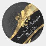 Oro elegante y sello negro del boda del damasco pegatinas redondas