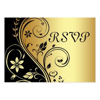 Oro elegante y tarjeta floral negra de RSVP de la Tarjetas De Visita Grandes