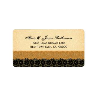 Oro elegante y vintage negro del cordón que siente etiqueta de dirección