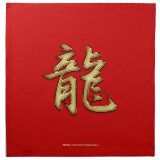 Oro en el año rojo del dragón que cena servilletas