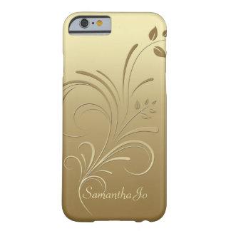 Oro en el caso floral del iPhone 6 del monograma Funda Barely There iPhone 6