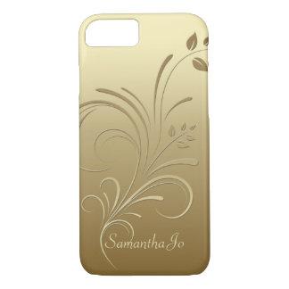 Oro en el caso floral del iPhone 7 del monograma Funda iPhone 7